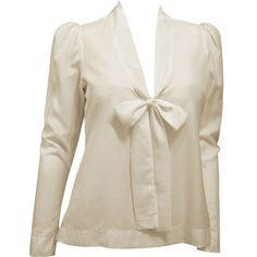 Camisa de Seda Off-White com Laço na Gola - PREVIEW DE INVERNO! - luiza pannunzio