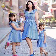 Mom Girl Plaid Falbala Bowknot Decorate Matching Dress - Della U. Mom Daughter Matching Outfits, Mommy Daughter Dresses, Mother Daughter Fashion, Mommy And Me Dresses, Mommy And Me Outfits, Mom Dress, Matching Family Outfits, Kids Outfits, Girls Dresses