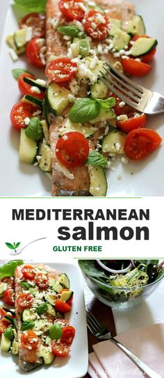 Mediterranean Salmon / A delicious way to dress up your salmon dinner! All the best Mediterranean flavors make this nutritious meal feel extra special. | SIMPLYFRESHDINNERS.COM | #salmon #mediterranean #dinner