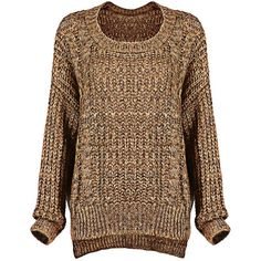 Yoins Knitted Jumper (175 VEF) ❤ liked on Polyvore featuring tops, sweaters, yoins, shirts, jumper, jumper top, drop shoulder tops, jumpers sweaters, brown sweater and brown shirt