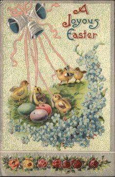 Easter Silver Embossed Chicks Bells Eggs Flowers c1910 Postcard
