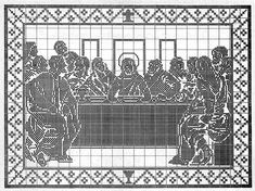 The Last Supper Wall Hanging chart Filet Crochet Charts, Crochet Diagram, Cross Stitch Charts, Crochet Cord, Freeform Crochet, Cross Stitch Fairy, Cross Stitch Embroidery, Cross Stitch Patterns, Crochet Patterns