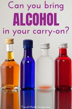 Can you bring alcohol on a plane? What are the rules for alcohol in carry on or checked baggage? What about international flights? Here's everything you need to know about traveling with booze. Mini Alcohol Bottles, Small Bottles, Mini Bottles, Simple Blog, Make It Simple, Air Travel Tips, Checked Luggage, Packing Tips, Travel Packing