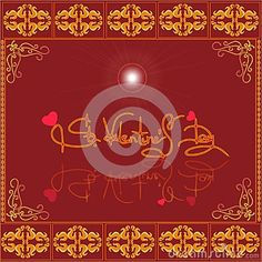 Holiday greeting on a red background.computer graphics.illustration.postcard.ornament patterned surface.