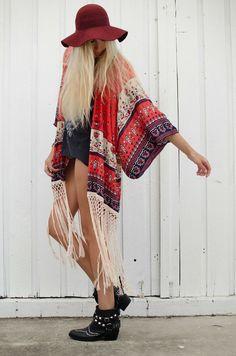 fringe kimono + ankle boots #festivalwear