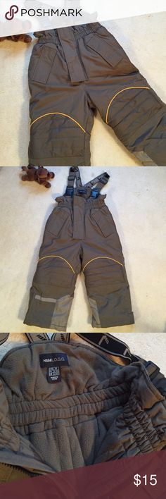 BOYs   brown snow ski pants - overalls Very warm snow pants. 2-3 years. 2 Velcro front pockets. Adjustable suspenders. Legs have Velcro openings to put on boots easy. Elastic around inner leg lining so snow won't get in. EUC. This could be for a boy or girl. H&M Other