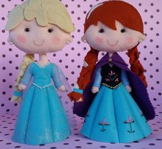 Princesas Frozen  Ana e Elsa em feltro #Frozen #Ana #Elsa