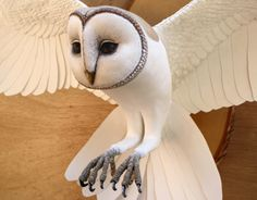 Paper and wood owl sculpture by Zack Mclaughlin
