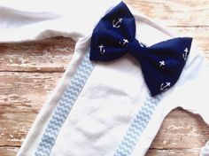 Baby Boy Nautical Outfit Nautical Bow Tie by sherbetwithsprinkles