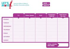 Set rules for kids to reduce screen time for your family. Start by filling out the screen time log and the activity log. This will help you set new goals for your family!
