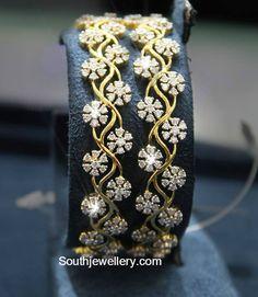 Bracelets diamant - 14 carats d'or et d'argent Gold Bangles Design, Gold Jewellery Design, Gold Jewelry, Fine Jewelry, Designer Bangles, Quartz Jewelry, Bespoke Jewellery, Designer Jewellery, Handmade Jewellery