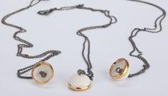 Single Porcelain Dome Necklace - Oxidised Chain | Gifts | Rose Ellen Cobb