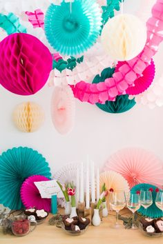 Tissue Paper Garland Hot Pink Garland Party by SoireeSupply