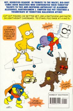 The Simpsons: Paper Doll Back Cover from Bart Simpson's Treehouse of Horror #1 (October 1995), artist unknown