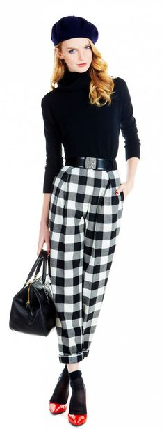 Adorable Parisian style!!! Beret, turtle neck, checkered pants... Adorbs.