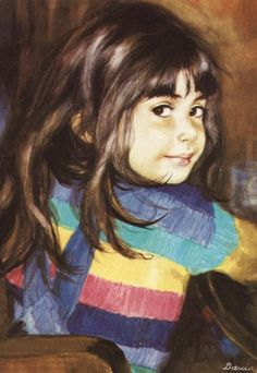 Girl wearing a striped jumper Painting Of Girl, Mixed Media Artwork, Female Images, S Girls, Beautiful Children, Face Art, Creative Art, Creative Writing, Vintage Postcards