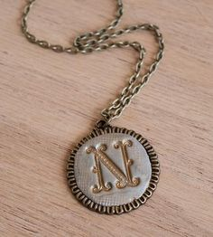 Custom Large Circle Initial Clay Necklace by JillMakes on Scoutmob Shoppe