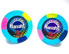 Real Harrahs Vegas Casino Blue Poker Chip Cufflinks --- http://helpn.us/ow