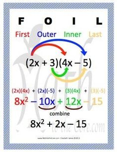 FOIL method Poster for multiplying binomials. I am a big fan of the FOIL method for multiplying binomials. Although I know some educators use the box method, my students find the FOIL method easier and much faster with a little practice. Math Resources, Math Activities, Maths Algebra, Algebra Help, Math Math, Ged Math, High School Algebra, Algebra Worksheets, Math Formulas