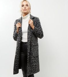 Leopard Print Longline Coat by New Look Leopard Coat, Cold Day, Long A Line, Winter Wardrobe, New Look, Latest Trends, Fur Coat, Cover Up, Grey
