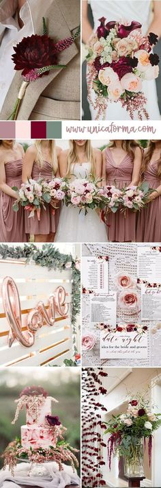 Essentially the wedding colors. Mauve, blush, burgundy, green (with the foliage), and just add a few pops of gold. #BurgundyWeddingIdeas