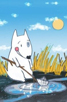 Bull Terrier Ferd playing with a paper boat. Illustration by the Russian artist Daria Khmelevtseva