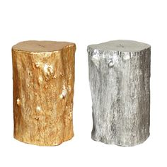 would like to try: sealant + spray paint + stump = stool or side table. [Gold and Silver Log Stools by Jason Phillips] Log Stools, Tree Stump Table, Art Nouveau, Diy Home Decor, Room Decor, Dining Room Inspiration, Decoration, Home Accessories, Crafty