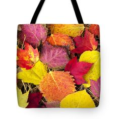 """Colorful Autumn Leaves Tote Bag by Christina Rollo (18"""" x 18"""").  The tote bag is machine washable, available in three different sizes, and includes a black strap for easy carrying on your shoulder.  All totes are available for worldwide shipping and include a money-back guarantee."""