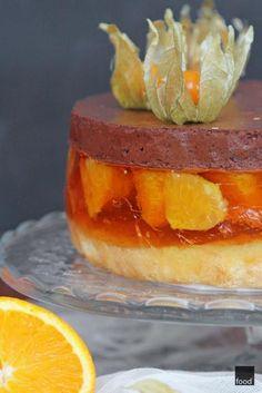 Zdjęcie: Delicja, czyli biszkopt z galaretką pomarańczową i musem czekoladowym