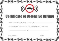 image about Defensive Driving Course Online Texas Printable Certificate titled 20 Excellent Risk-free Powering Certification Template pictures inside 2018