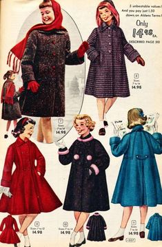 Aldens Catalog - - Subteens, Baby it's Cold Out There! 1950s Fashion Women, Teen Fashion, Vintage Fashion, 50s Outfits, Little Girl Outfits, Vintage Girls Dresses, Vintage Outfits, 20th Century Fashion, Fashion Catalogue