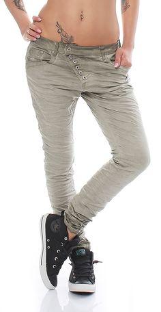 SKUTARI Luxuriöse Designer Denim Stretch Boyfriend Baggy Jeans Knitter Look offene gebogene Knopfleiste , (Farbe Khaki, Größe XL): Amazon.de: Bekleidung