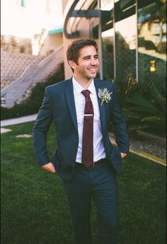 Groom's suit - navy blue, maroon tie, lavender boutonnière Jessica Miriam Photography