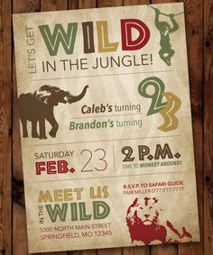 Safari Birthday Invitation Jungle Birthday by PartiesbytheBundle