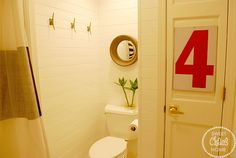 planked walls in kids' bathroom