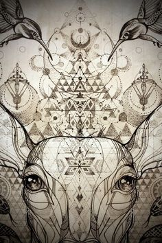"""The Song of the White Deer"" Collaborative Drawing with Kris Davidson Ink,"