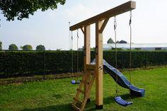 Wooden swing set with slide! Backyard Playset, Backyard Swings, Backyard For Kids, Outdoor Playset, Backyard Ideas, Homemade Swing Set, Garden Types, Swing Sets For Kids, Swing And Slide Set