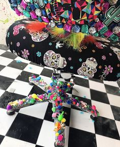Hairdressing chair.   Hairdressing, upholstery, skulls, sugar skull, Mexican, furniture, arts, crafts, colourful, salon, decor, decoration, hair salon, beauty salon, unique, Melbourne.