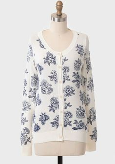 Antique Rose Printed Cardigan - Hmm, this would look good over that dress I just pinned.