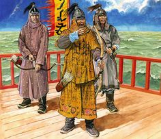 Mongol general and archers on a ship during the Mongol Invasion of Japan