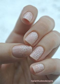 Snowflake on nude nails  CLICK.TO.SEE.MORE.eldressico.com