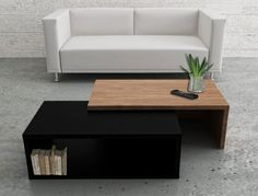 Contemporary Jazz Two Tone Temahome Coffee Table in Black and Walnut #diningroom #livingroom #homedecor #interiordesign #temahome #interiors #home #furnituremind