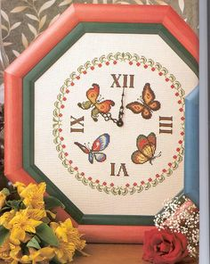 Handmade Clocks, Butterfly Cross Stitch, Stitch 2, Cross Stitch Patterns, Advent Calendar, Free Pattern, Knitting, Holiday Decor, Crafts