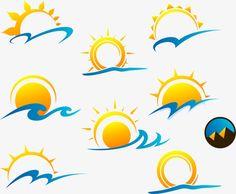 Sun Clip Art, Sun Art, Sky Logo, Lake Painting, Mini Drawings, Artist Logo, Travel Logo, Logo Design Template, Free Logo