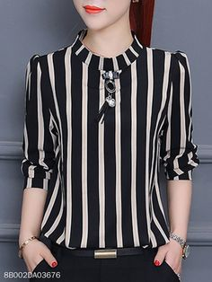 Vertical Striped Chiffon Blouse - Color: Black Khaki Size: S M L Xl Collar_&_neckline: Band Collar Material: Chiffon Occasion: Basic Date Pattern_type: Vertical Striped Season: Autumn Spring Style: Elegant Processing Time: Business Days Source by - Cheap Womens Tops, Casual Skirt Outfits, Women's Dresses, Chiffon Tops, Blouses For Women, Ladies Blouses, Fashion Outfits, Elegant, Tops Online