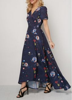 Asymmetric Hem Tie Back Printed Maxi Dress |  V NeckSleeve's Length:Short SleeveSilhouette:High waist Material:PolyesterDress Length:Maxi Rotita.com - USD $38.47