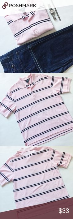 "Brooks Brothers Original Fit Striped Polo Shirt Brooks Brothers Original Fit Polo Shirt in pink and navy.  Classic style, great to wear alone or layered with a sweater.  Pre-loved but in excellent condition.  Small snag on one arm, see pic.  No other damage or stains.   Measurements laying flat: Armpit to armpit: 22"" Waist (across): 22""  Total length: 26""  Sleeve length: 11"" Brooks Brothers Shirts"
