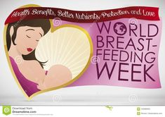 Lovely Mom And Baby Over Greetings For World Breastfeeding Week, Vector Illustration Stock Vector - Illustration of feed, event: 122393043 World Breastfeeding Week, Mom And Baby, Health Benefits, Banner, Illustration, Banner Stands, Illustrations, Banners