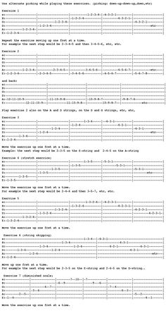 Guitar exercises to build up hand and arm strength.