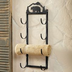 Metal Bear Towel Roll Wall Rack
